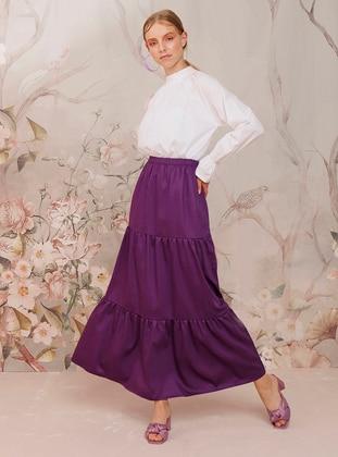 Purple - Unlined -  - Skirt