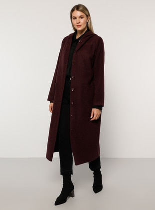 Purple - Unlined - Acrylic -  - Plus Size Overcoat - Alia