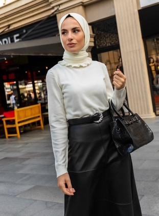 White - Ecru - Polo neck - Acrylic -  - Jumper - Refka