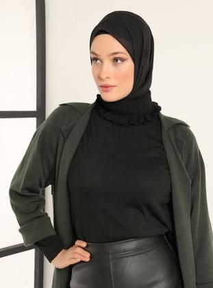 Black - Polo neck - Acrylic - - Jumper