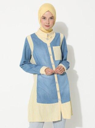Yellow - Gingham - Point Collar - Denim -  - Tunic