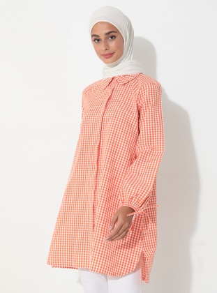 Orange - Gingham - Point Collar - Tunic
