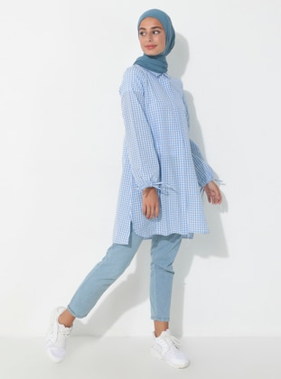 Blue - Gingham - Point Collar - Tunic