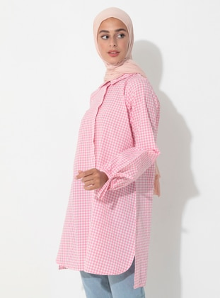 Pink - Gingham - Point Collar - Tunic