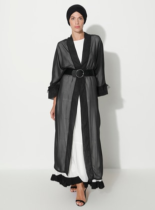 Black - Polka Dot - Unlined - Shawl Collar - Abaya