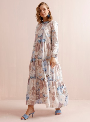 Blue - Blue - Floral - Crew neck - Unlined - Cotton - Dress