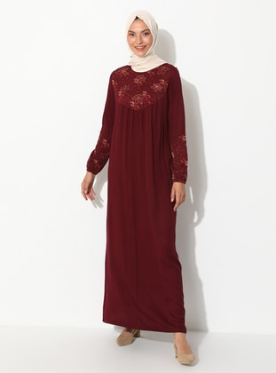 Maroon - Floral - Crew neck - Unlined - Viscose - Dress