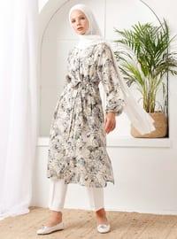 Bej - Çiçekli - Astarsız kumaş - Şal yaka - - Palto ve Kabanlar