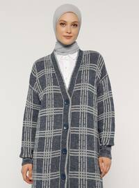 Navy Blue - Stripe - Checkered - V neck Collar - Acrylic -  - Cardigan