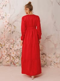 Red - Red - Crew neck - Unlined - Cotton - Dress
