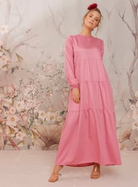 Pink - Pink - Crew neck - Unlined - Cotton - Dress