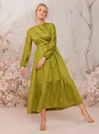 Green - Green - Crew neck - Unlined - Cotton - Dress