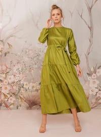 Green - Green - Crew neck - Unlined - Cotton - Dress