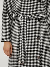 White - Black - Houndstooth - Fully Lined - Shawl Collar - Acrylic - - Coat