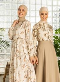 Brown - Brown - Floral - Crew neck - Cotton - Dress