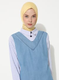 Blue - Checkered - Gingham - Point Collar -  - Tunic