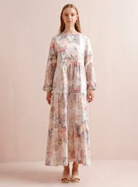 Pink - Pink - Floral - Crew neck - Unlined - Cotton - Dress