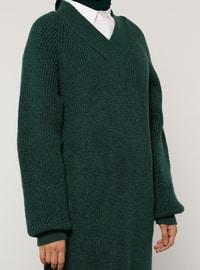 Green - V neck Collar - Acrylic - - Knit Tunics