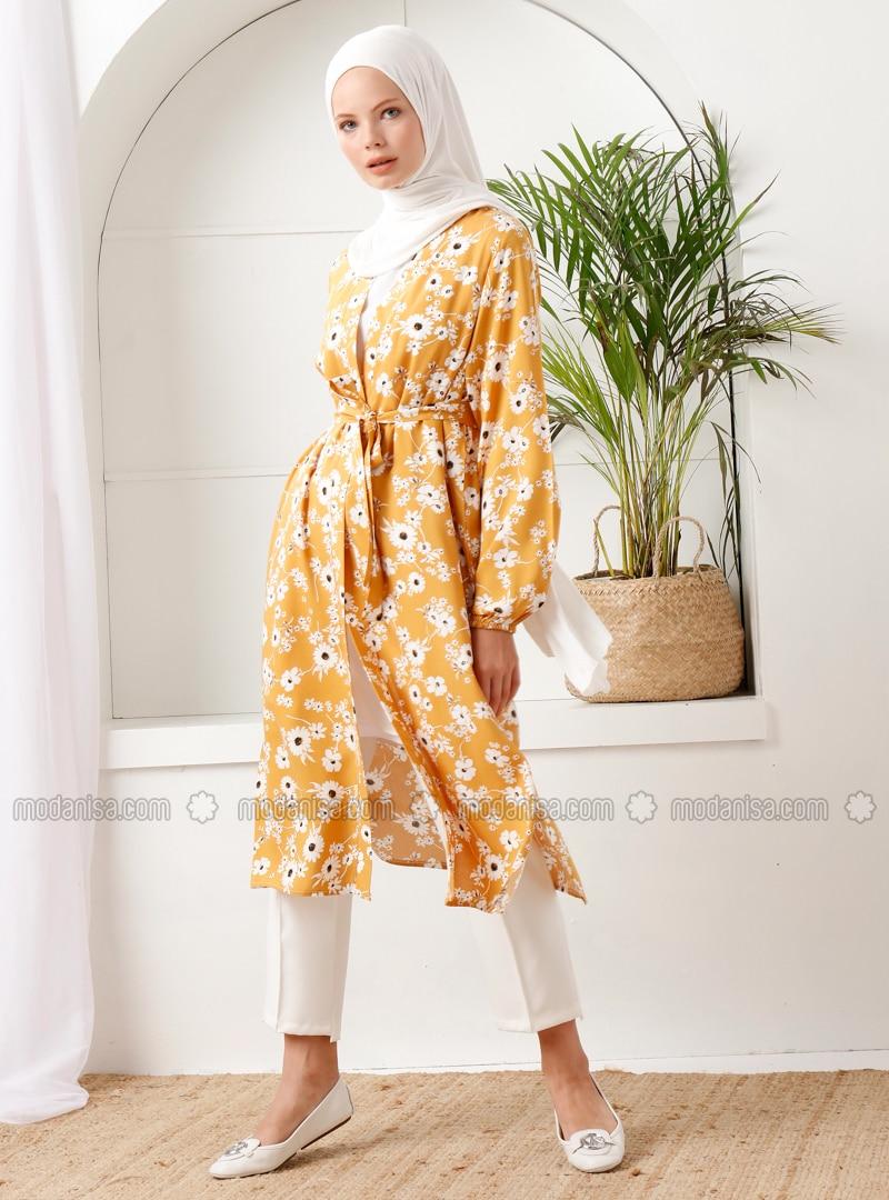 Mustard - Floral - Unlined - Shawl Collar - - Topcoat