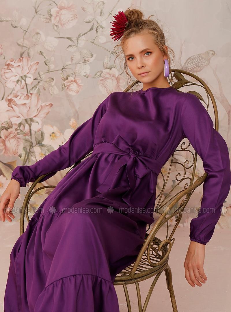 Purple - Purple - Crew neck - Unlined - Cotton - Dress