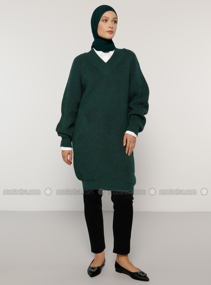 Green - V neck Collar - Acrylic - - Knit Tunics