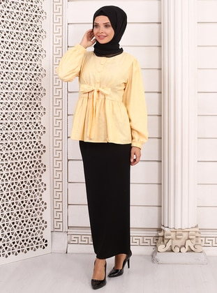 Yellow - Crew neck -  - Blouses