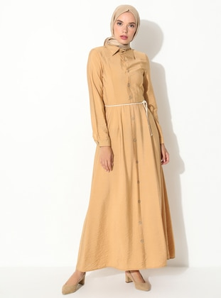 Yellow - Salmon - Point Collar - Unlined -  - Dress