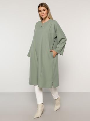 Olive Green - V neck Collar - Plus Size Tunic