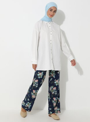 Navy Blue - Floral - Viscose - Pants