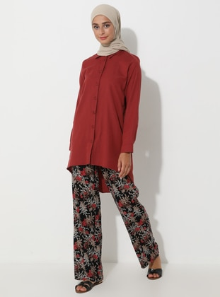 Black - Floral - Viscose - Pants