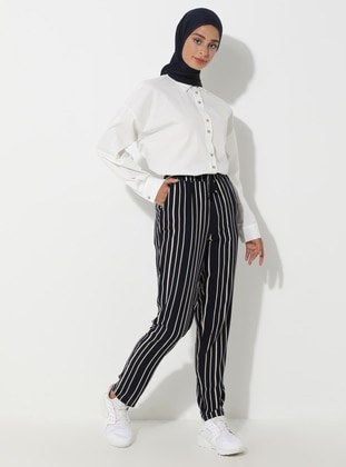 Navy Blue - Stripe - Viscose - Pants