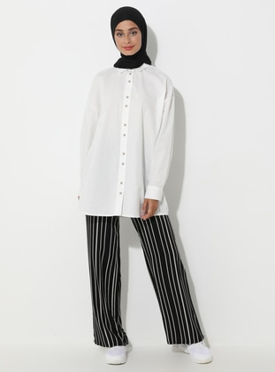 Black - Stripe - Viscose - Pants