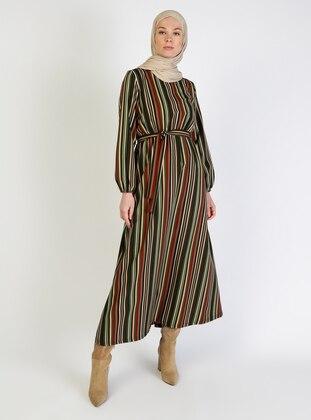 Khaki - Stripe - Crew neck - Unlined - Cotton - Modest Dress