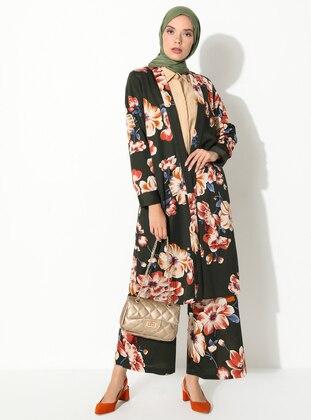 Khaki - Multi - Floral - Unlined - Shawl Collar - Viscose - Topcoat