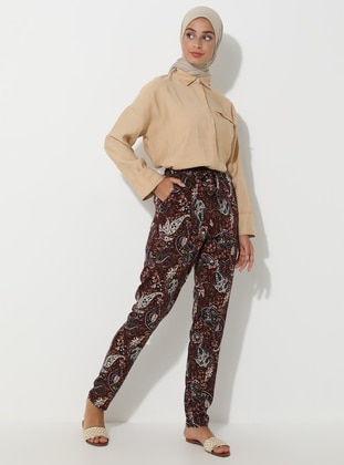 Maroon - Floral - Multi - Viscose - Pants