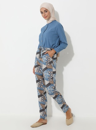 Blue - Multi - Viscose - Pants