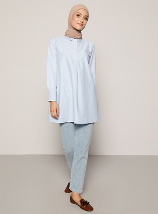 Baby Blue - Blue - Point Collar - - Tunic