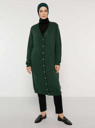 Green - Emerald - V neck Collar - Acrylic - - Cardigan