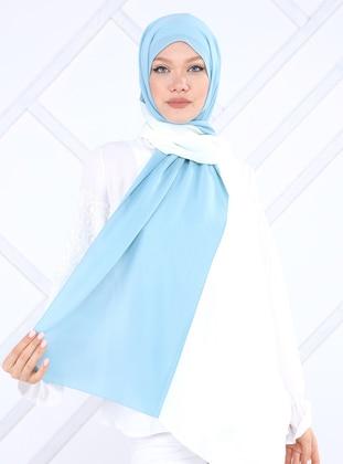 Cream - Turquoise - Plain - Crepe - Shawl