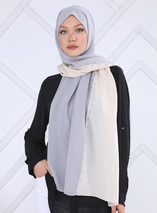Silver tone - Cream - Plain - Crepe - Shawl