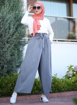 Gray - Denim - Lyocell - Pants