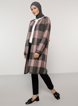 Gray - Pink - Checkered - Acrylic -  - Cardigan - Refka