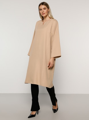 Stone - V neck Collar - Plus Size Tunic