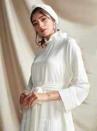Ecru - Polo neck - Fully Lined - Dress