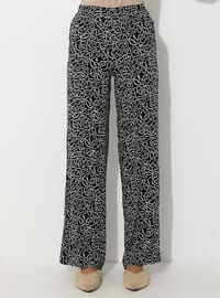 Navy Blue - Multi - Viscose - Pants