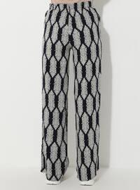 Navy Blue - Multi - Viscose - Pants