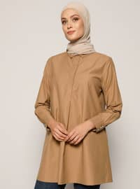 Camel - Caramel - Point Collar -  - Tunic