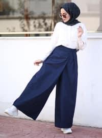 Navy Blue - Denim - Lyocell - Pants
