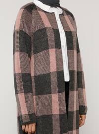 Gray - Pink - Checkered - Acrylic -  - Cardigan