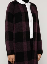 Purple - Black - Checkered - Acrylic -  - Cardigan